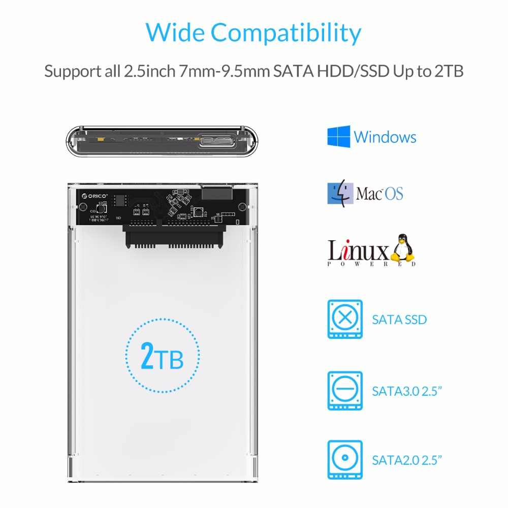 ORICO 2 تيرا بايت موبايل قالب أقراص صلبة حالة USB 3.0 إلى SATA HDD القرص الصلب الخارجي الضميمة بدون مسامير ل Windows/Mac