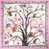 100% Silk Scarf Women Scarf Birds in Tree Thick Scarf Silk Bandana 2019 Hot Foulard Big Square Silk Scarf Great Gift for Lady