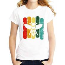 Designer T Shirts Tall Bee Retro Vintage Printed  O-Neck Short-Sleeve Womens Shirt