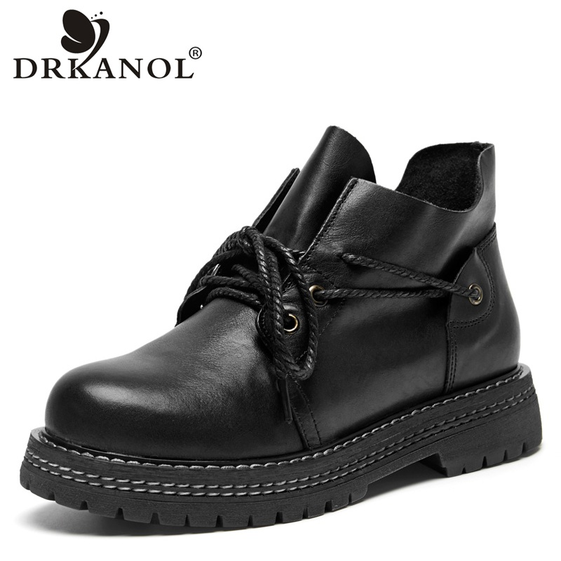 DRKANOL Autumn Winter Handmade Genuine Leather Martin Boots Women Ankle Boots Warm Thick Heel Motorcycle Boots Female Footwear