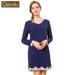 Image 1 - 2020 jesień Sleepshirt kobieta dorywczo proste polka dot nighty sukienki damskie bawełniana koszula nocna kobiety z długim rękawem bielizna nocna sukienka