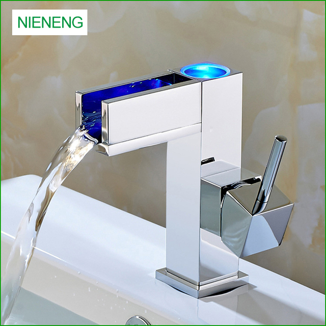 Nieneng Led Faucet Bathroom Bath Sink Taps Light For Tap Torneira Basin Temperature Control