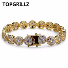 TOPGRILLZ Gold/Silver Color Plated Iced Out Bling Jewelry Bracelet Round Micro Pave CZ Stone 10mm Bracelets For Men And Women(China)