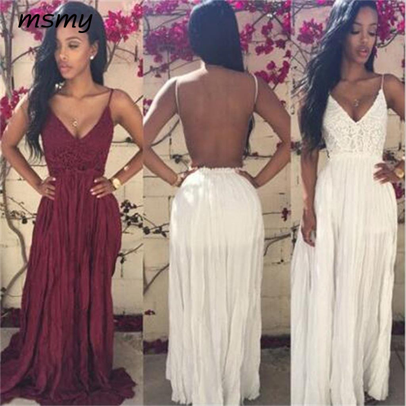 A Line Long   Evening     Dress   Floor Length Formal 2019 Prom Party   Dresses   Pleat Lace Backless Gown Custom Made Vestido de noite