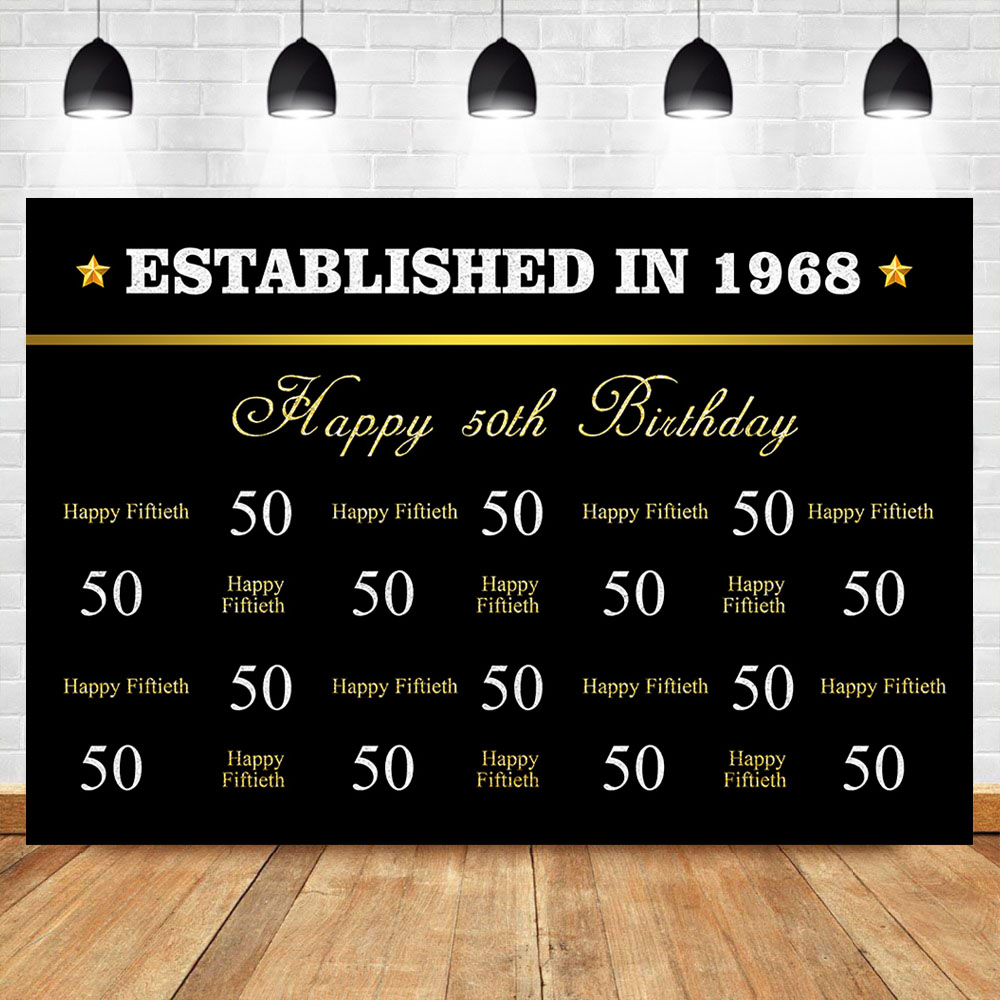 NeoBack Happy 50th Birthday Gold Backdrop Black Gold Step and Repeat Photography Backdrop 50th Birthday Party Banner Backdrops in Background from Consumer Electronics