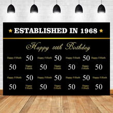 NeoBack Happy 50th Birthday Gold Backdrop Black Step and Repeat Photography Party Banner Backdrops