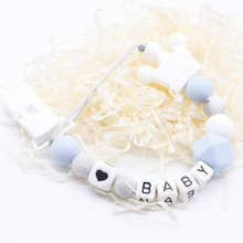Personalized Name Silicone teething pacifier clips with Safe ABS beads Silicone pacifier c