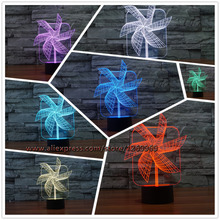 2017 NEW Moving Colorful Windmill 3D USB LED Lamp Mood Dimmer Night Light Household Bedroom Table Light Good Luck Gift Kids Toys