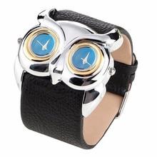 Dial Watch Women Leather Owl Double Dual Dial 30M Waterproof Sport Watch Clock Quartz Watch Relojes Montre 2016 Free Shipping