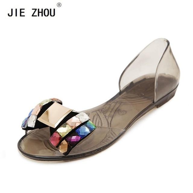 3fa92773702c2 Women Sandals 2018 Summer Bling Bowtie Decoration Fashion open toe Jelly  Shoes Sandal Flat Shoes Black .Gold.