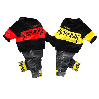 2019 spring and autumn new boy suit fashion clothing letter two-piece boy casual children's clothing