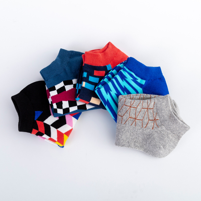 Jhouson Men's Casual Novelty Colorful Summer Ankle Socks Happy Combed Cotton Short Socks Plaid Geometric Pattern Dress Boat Sock 5