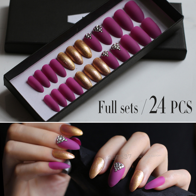 Lots Of Golden Glitter 10pcs 24pcs Matte Deep Rose Red Stiletto Nails False Nail Diy