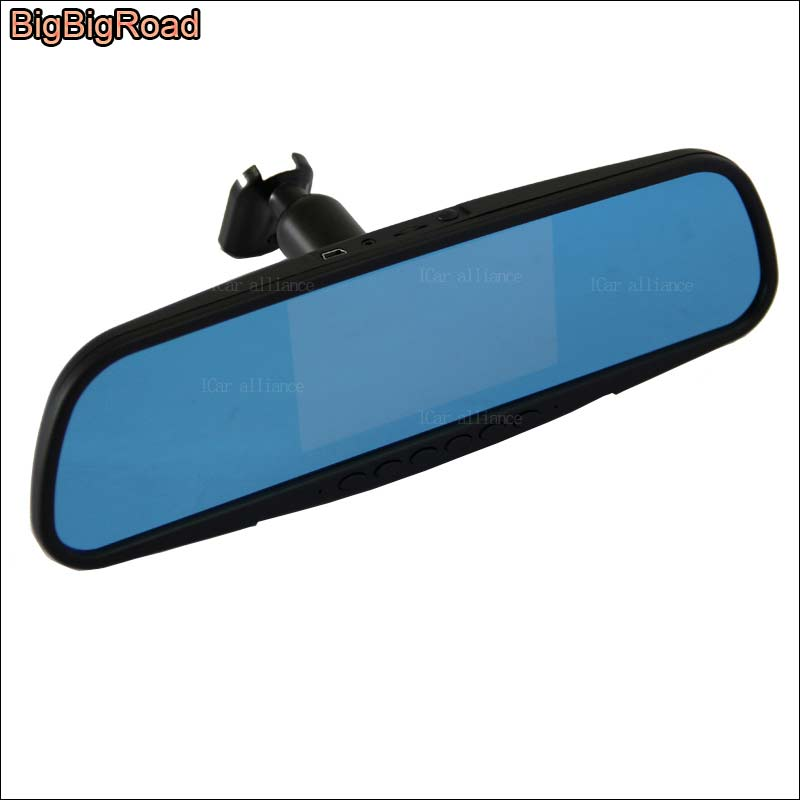 BigBigRoad For ford escort Dual Lens Car Mirror camera DVR Video Recorder Dash Cam Parking Monitor with Original Bracket bigbigroad for vw tiguan routan car dvr blue screen dual lens rearview mirror video recorder 5 inch car black box night vision