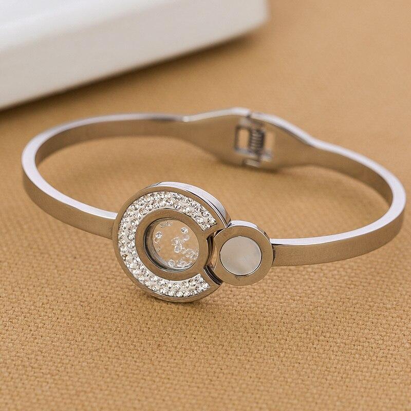 316L Stainless Steel Float Crystal Bracelet bangles for women