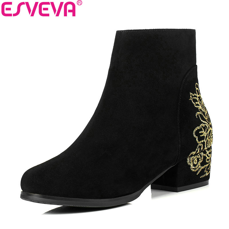 ESVEVA 2018 Women Boots Embroider Square Med Heel Ankle Boots Short Plush Cow Suede Appointment Ladies Short Boots Size 34-40 esveva 2018 women boots lining short plush chunky square high heel ankle boots slim look pointed toe ladies boots size 34 43