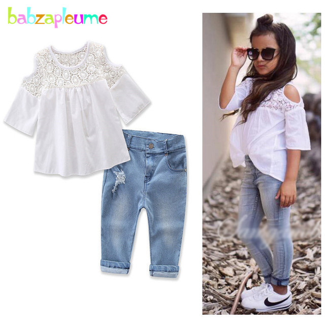 0235ad62a28d 2PCS 2 7Years Spring Summer Boutique Kids Fashion Clothes Baby Girls Outfits  White T shirt+Jeans Children Clothing Sets BC1492-in Clothing Sets from  Mother ...