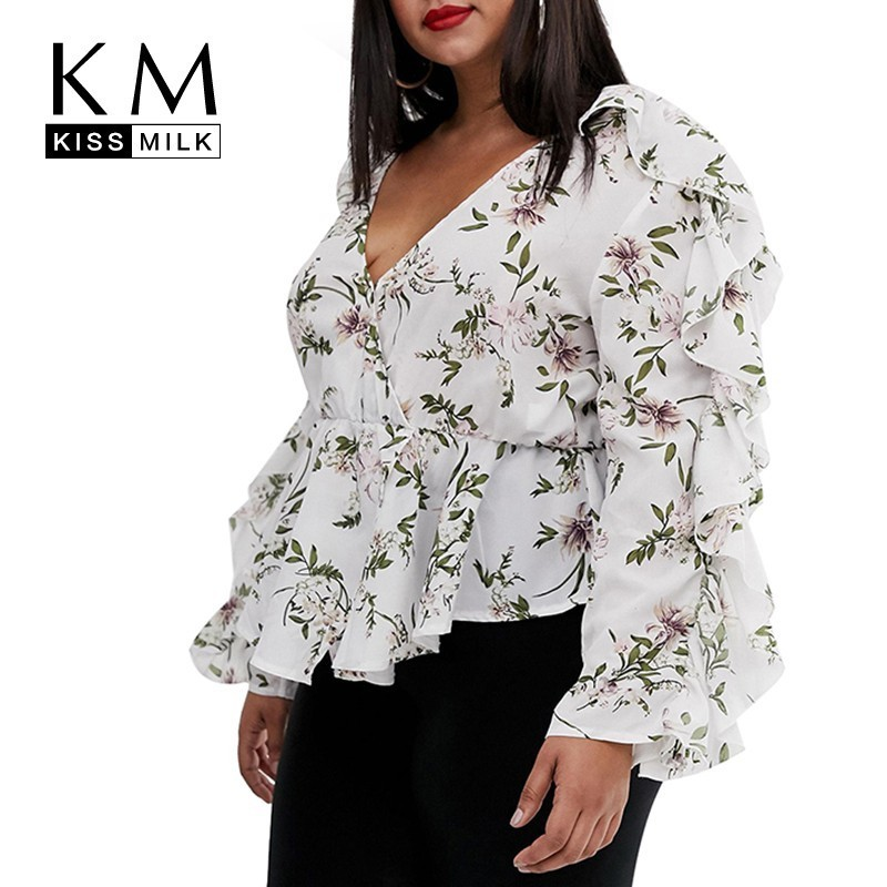 Kissmilk 2019 Hot Summer 2019 New Fashion Plus Size Hot Sale  Ladies Casual Fit Frill Sleeve  White Floral Shirts