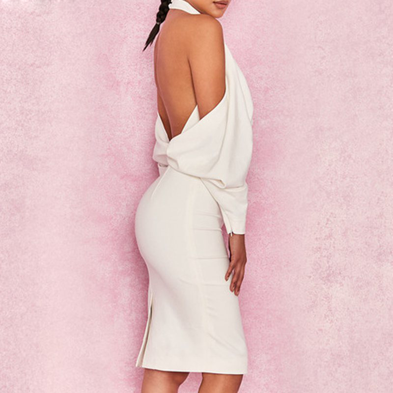 Gosexy Robe Sans De Halter Club White Piste Dos Dress Femmes Célébrité Évider 2018new D'été Manches Robes Soirée Blanc Party Nu rwxr7Y