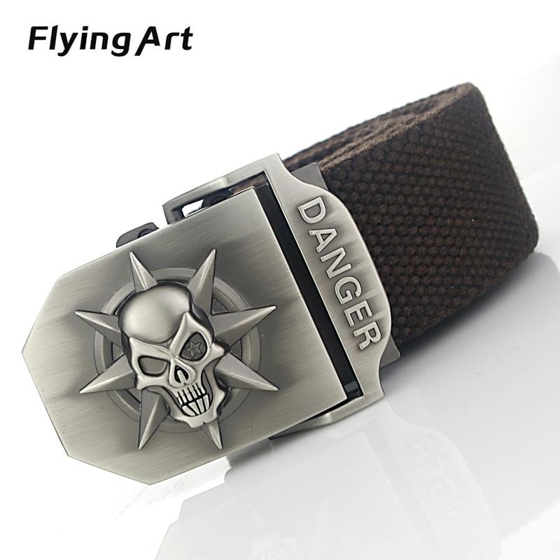 Flying Art Hot Retro esqueleto automáticamente cinturón masculino de alta calidad de 4 mm de grosor 3.8 cm con cinturones de lona Cinturones de vaquero para hombres mujeres