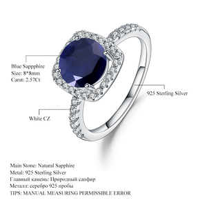 Image 5 - Mücevher bale 2.57Ct doğal mavi safir 925 ayar gümüş yüzük güzel takı taş düğün nişan yüzüğü kadınlar için