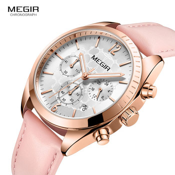 Megir Luxury Women's Quartz Watches Chronograph Wristwatch Leather Strap 24 Hours 3ATM Waterproof Rose Gold Watch Lady 2115 Pink
