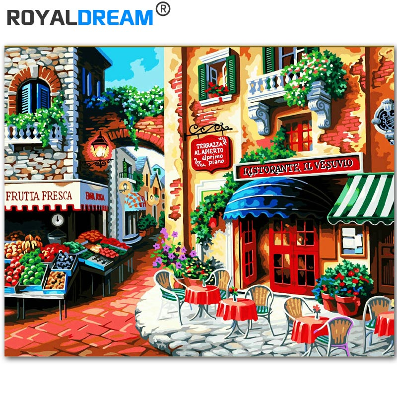 ROYALDREAM Small Town Early Morning DIY Painting By Numbers Kits Coloring Paint By Numbers Modern Wall Art Picture Gift image