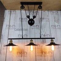 3 головки шкив Ретро Эдисон лампочки люстра Винтаж чердак античный регулируемый diy E27 Книги по искусству потолок подвесной светильник
