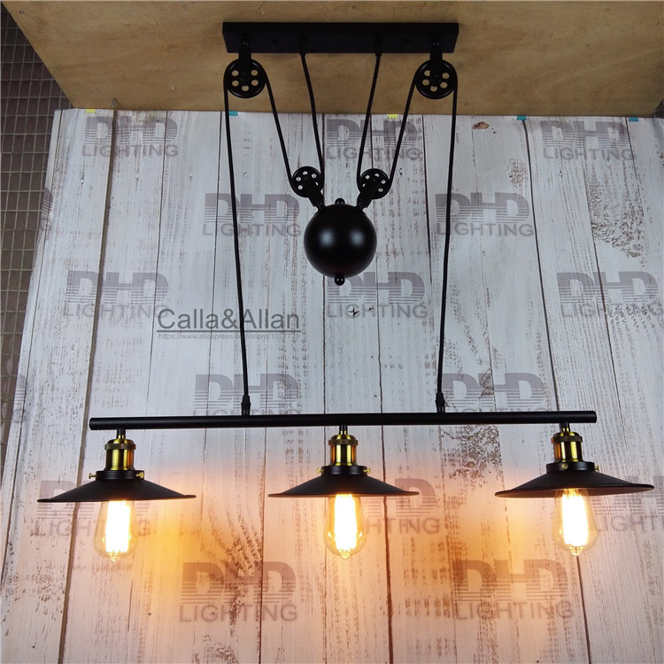 3 heads pulley Retro Edison Bulb Light Chandelier Vintage Loft Antique Adjustable DIY E27 Art Ceiling Pendant Lamp Fixture Light loft antique retro spider chandelier art black diy e27 vintage adjustable edison bulb pendant lamp haning fixture lighting