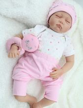 22inch Soft Silicone Reborn Baby Realistic Sleeping Girl Dolls Playhouse Toy Women Educational Treats