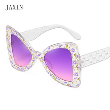JAXIN Personality bow Sunglasses Women trend new brand design Sun Glasses MS floral beautiful frame cute wild UV400 oculos 2019 цена