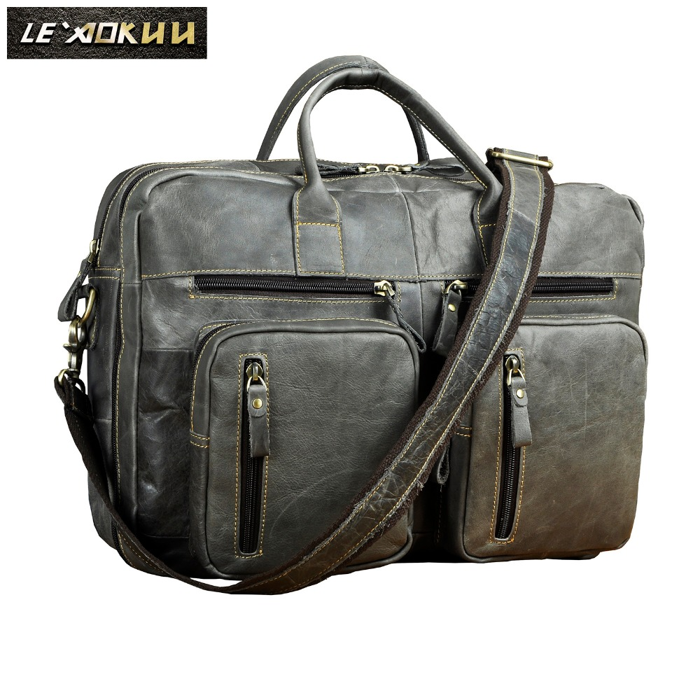 Men Leather Antique Design Business Travel Briefcase Laptop Bag Gray Fashion Attache Messenger Bag Tote Portfolio