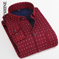 Elegante Fresco de Flanela Dos Homens Quentes Camisas Casuais Dos Homens da Qualidade Superior Homens Top de Manga Longa Impressão Camisas de Vestido Homem Inverno camisa