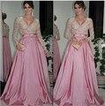 Лучший 2017 A-Line V-образным Вырезом Длинные Рукава Длина Пола Розовый Атласные Кружева Длинные Вечерние Платья Вечернее Платье для Особых случаев Платья