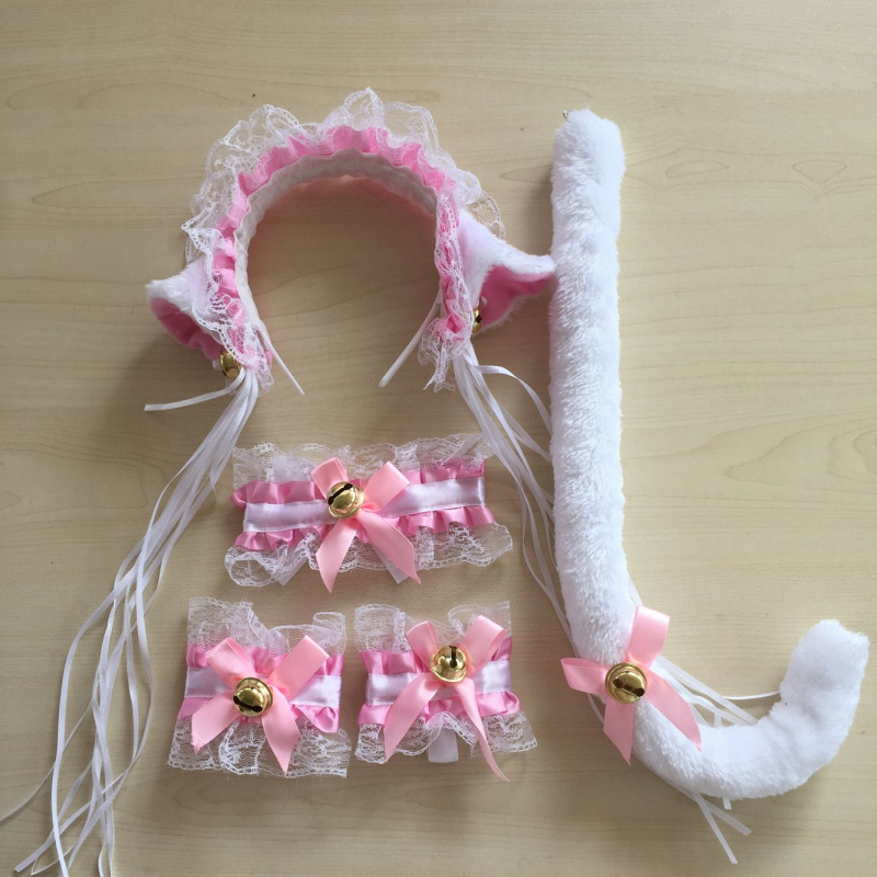 Women Lace Cat Ear Maid Cosplay Neko Costume Plush Lace Ears Headbands Bow Tie Tail With Bell Lolita Costume