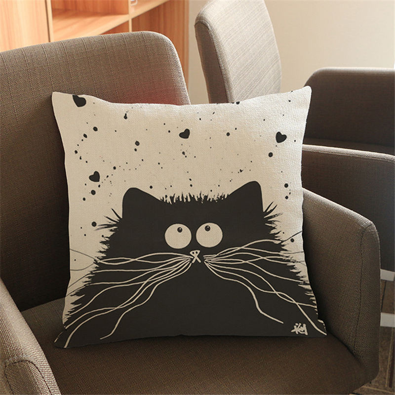 2017 Cute Cartoon Pattern Anime Pillowcase Cat Pillow Case Married Couples Kitten Cushions Cover Outdoor Chair Cushions ...
