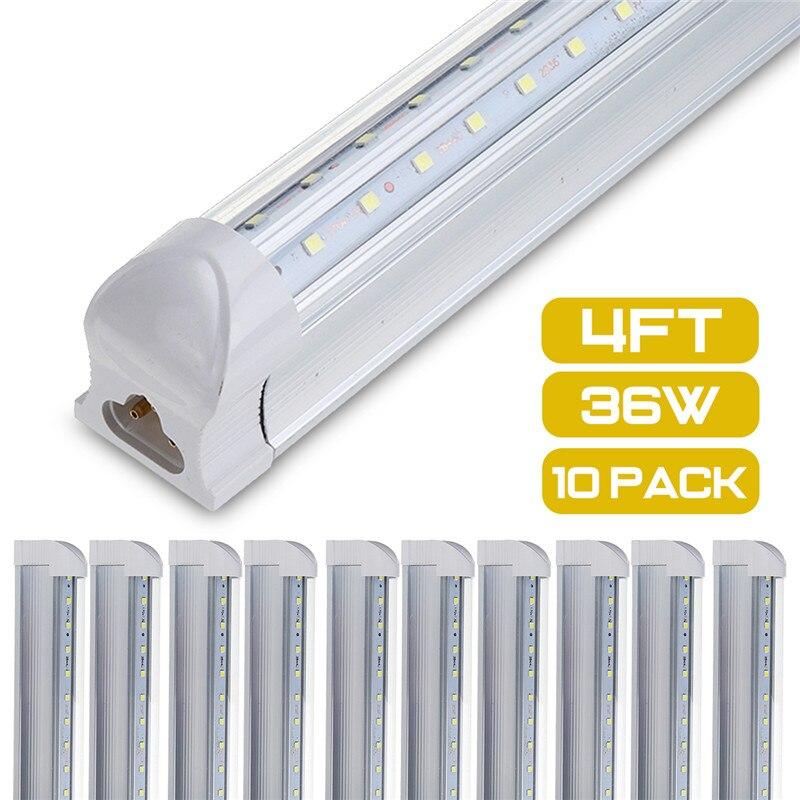 10 шт. светодиодный трубки T8 свет лампы 36 Вт 100LM/W Интегрированный Проходная втулка 120 см 4ft 300 мм T8 светодиодный Потолочные светильники SMD 2835 освещения холодный белый 85 265V