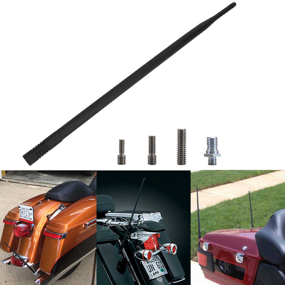 13 7'' Black Resilient AM FM XM Radio Antenna Masts for Harley Davidson  1989-2017 Motorcycle Signal Aerial Accessories
