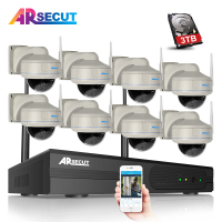 8CH NVR Wireless Security System 2 0MP 1080P HD Outdoor Vandalproof Fixed Dome IR WIFI Network