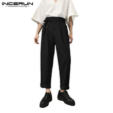 INCERUN New Wide-leg Trousers Fashion Solid Color Men Slim Streetwear Casual Comfortable Hiphop Loose Vintage Pantalones Hombre