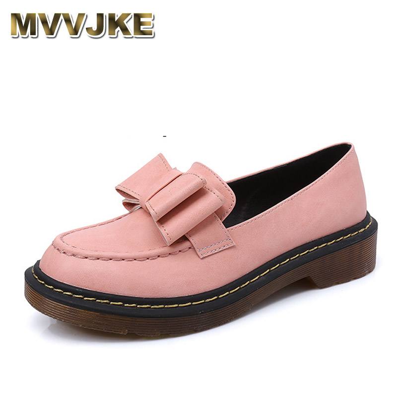 MVVJKE Size 34-43 New Spring Autumn Ladies Shoes Slip On Round Toe Flat Heel PU leather Bow Tie Cut Outs Women Shoes Colour Pink buckle straps embellished women pu leather flat heel shoes korean fashion new 2017 ladies slip on designer flats round toe