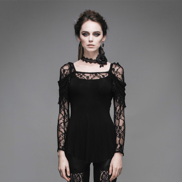 2017 new Steampunk Goth GOTHIC flocking lace clairvoyant female T-shirt slim slim hollow sleeve