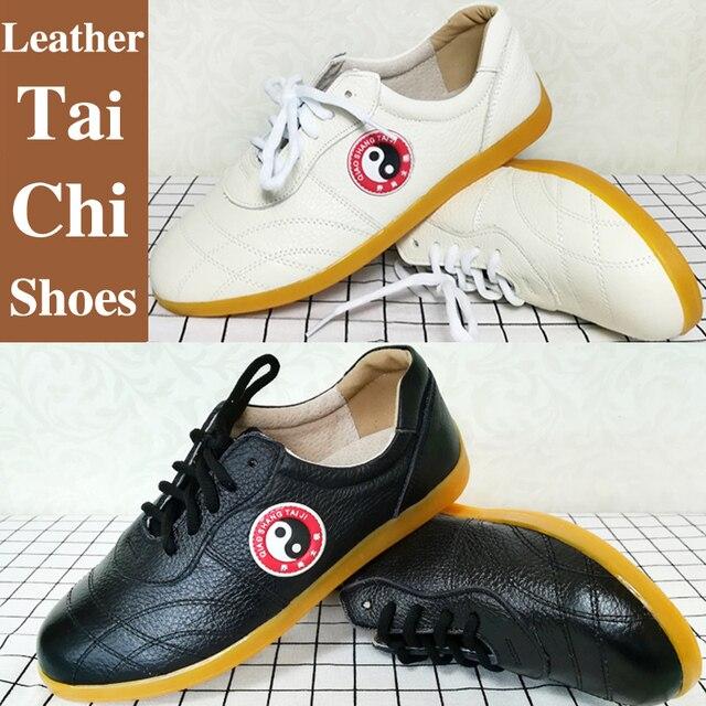san francisco 34a9f 3c3b2 US $39.61 19% di SCONTO|Pelle di Vacchetta pattini di wushu scarpe taichi  taolu Cinese kungfu taiji Practice Scarpe per uomini donne bambini della ...