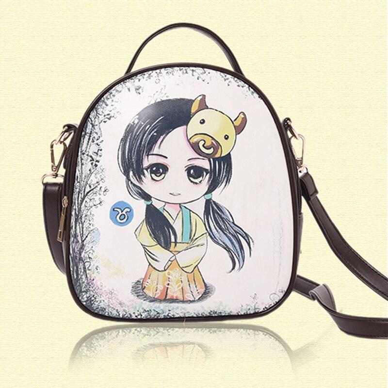 PU National Wind Taurus Constellations Zodiac Backpacks Schoolbag Practical Traveling Women Shoulder Bag Crossbody робот zodiac ov3400