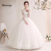 Real Wedding Dresses 2018 Vestido De Noiva Luxury Tulle Applique Wedding Dress Long Sleeve Vintage Bride dress