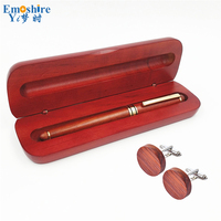 Emoshire Graduate Gift Set for Students Young Christmas Wedding Cuff Links Vintage Collection Wooden Roller Ball Pen Sets PC019