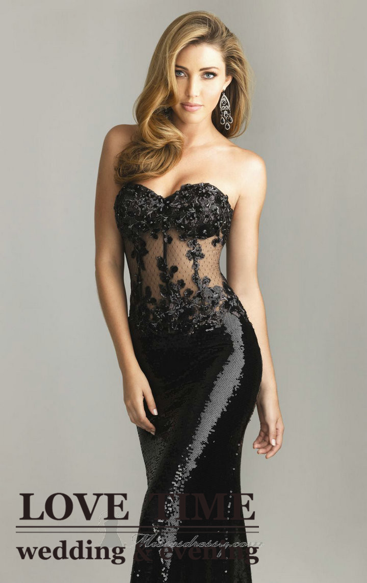 Strapless Embellished Dress Black Lace With Sequined