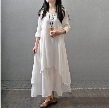ee635ccf9e Clobee Cotton And Linen Loose Women Dress Vintage Elegant Long Ladies  Dresses Autumn Ethnic Femme Vestidos Chinese Style V803-in Dresses from  Women s ...