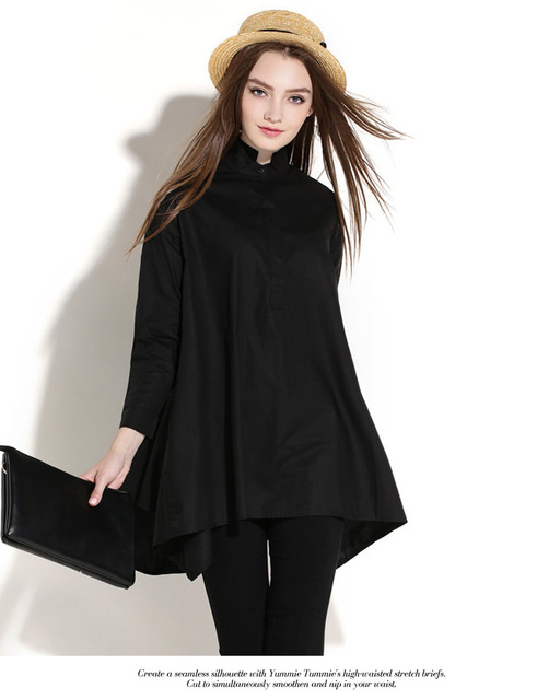2016 European and American Plus Size Solid Color Shirt Collar Loose Long Sleeve Shirt Blouse New Women