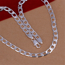 Mens 8MM flat nice noble women men chain charm silver plated hot sale gift Necklace Fashion Jewelry N034